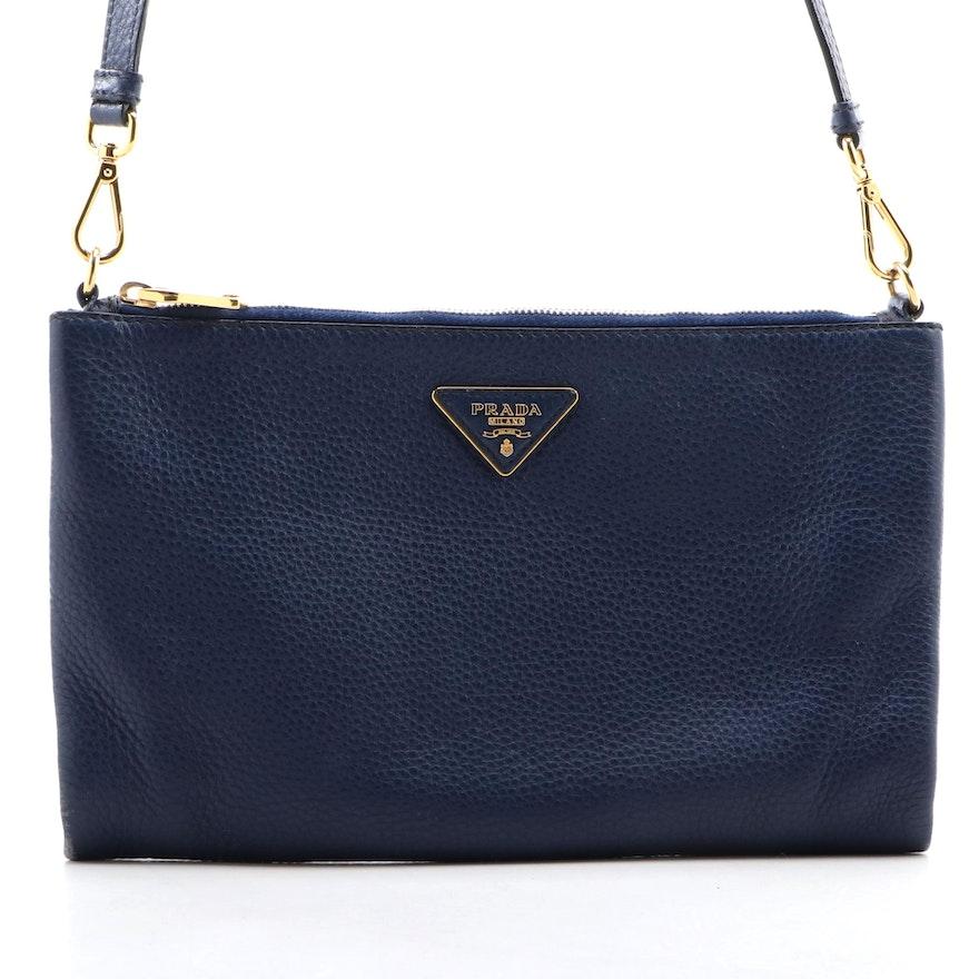 Prada Crossbody Bag in Indigo Vitello Daino Leather