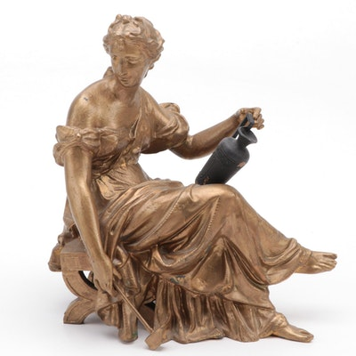 Neoclassical Gilt Bronze Sculpture of a Seated Lady with an Amphora