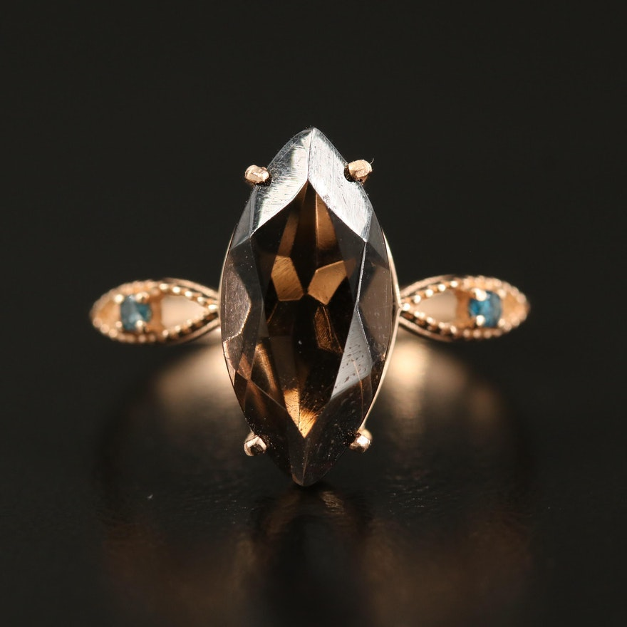 14K Smoky Quartz and Diamond Navette Ring