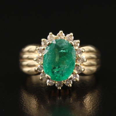 14K 1.47 CT Emerald and Diamond Halo Ring