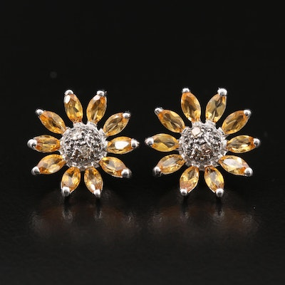 14K Citrine and Diamond Sunflower Earrings