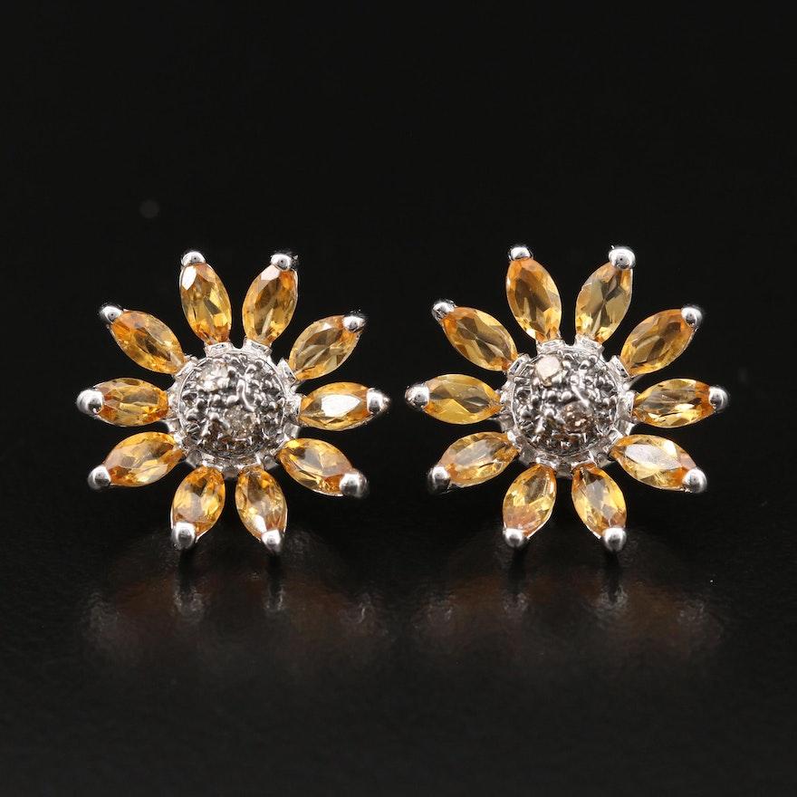14K Citrine and Diamond Sunflower Earrings