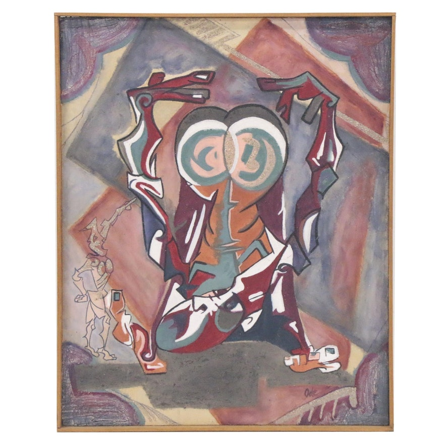 Mixed Media Painting of Abstract Figures, Late 20th Century