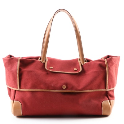 Hermès Passe-Passe 35 Bag in Rouge Moyen Toile and Leather Trim