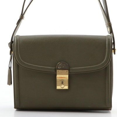 Gucci Khaki Green Pebbled Leather Flap Front Shoulder Bag