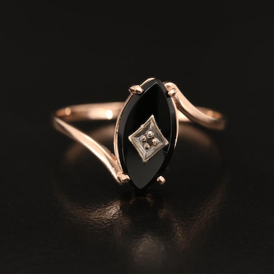 14K Rose Gold Black Onyx Bypass Ring with 10K Diamond Accent