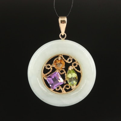 10K Jadeite Pendant with Amethyst, Citrine and Peridot Center