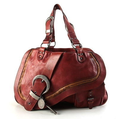 Christian Dior Gaucho Red Leather Dual Handle Saddle Bag