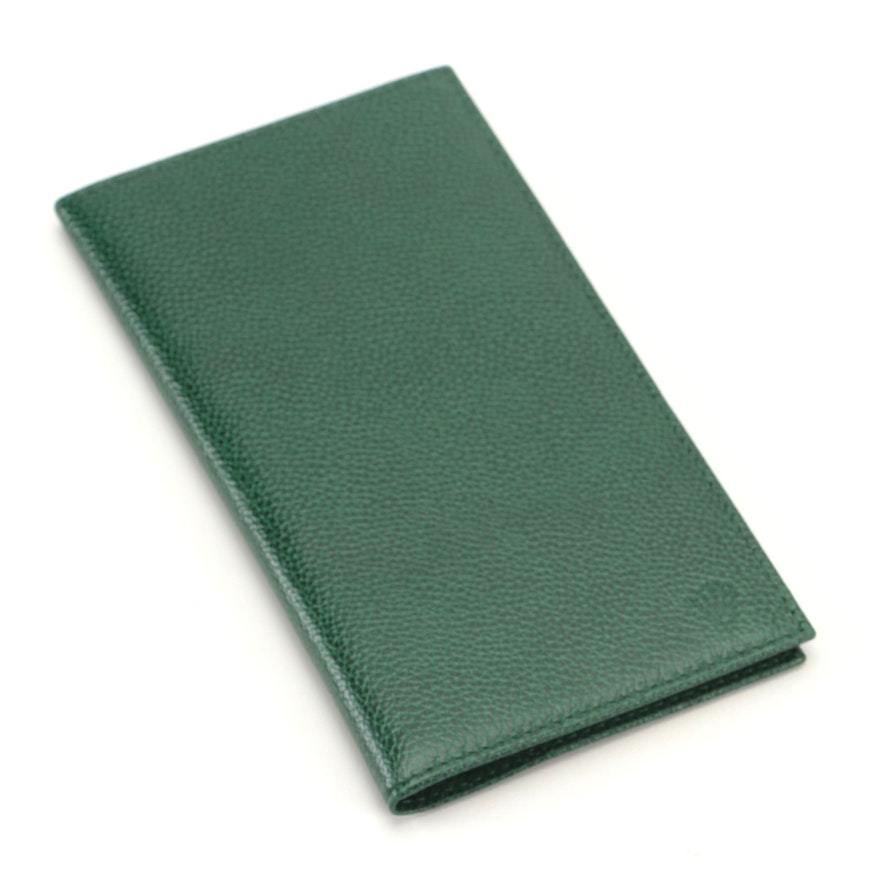 Rolex Green Pebble Leather Card Case with Notepad