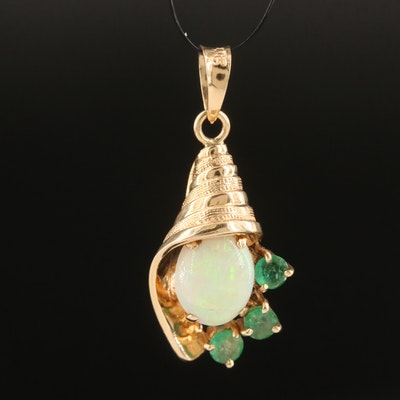 14K Opal and Emerald Pendant