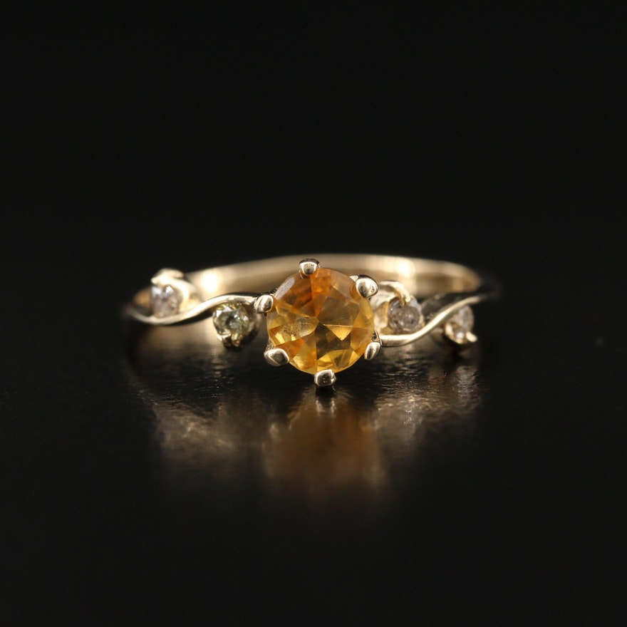 14K Citrine and Diamond Ring with Vining Detail
