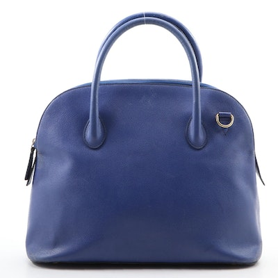 Céline Two-Way Domed Satchel in Cobalt Blue Pebbled Leather