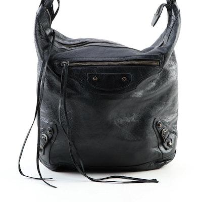 Balenciaga Classic Day Hobo Bag in Black Lambskin Leather