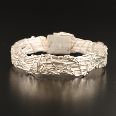 Sterling Silver Knot Wire Wrapped Bangle