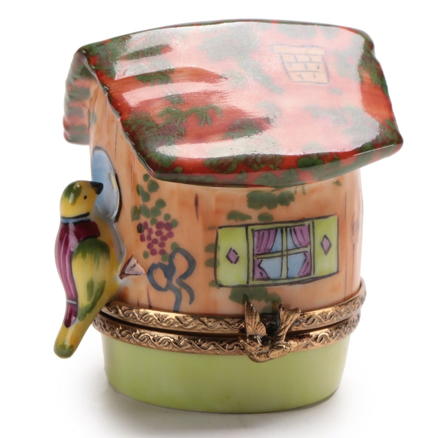 Hand-Painted Porcelain Birdhouse Limoges Box
