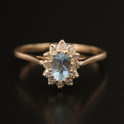 14K Aquamarine Ring with Diamond Halo