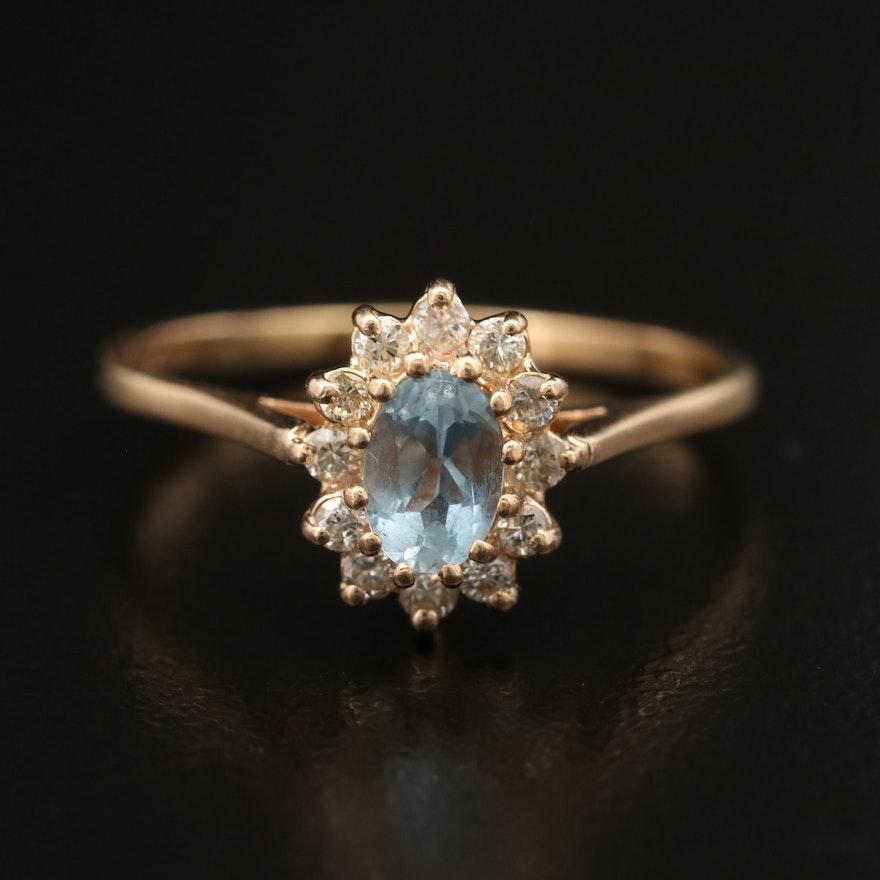 14K Aquamarine Ring with Diamond Halo