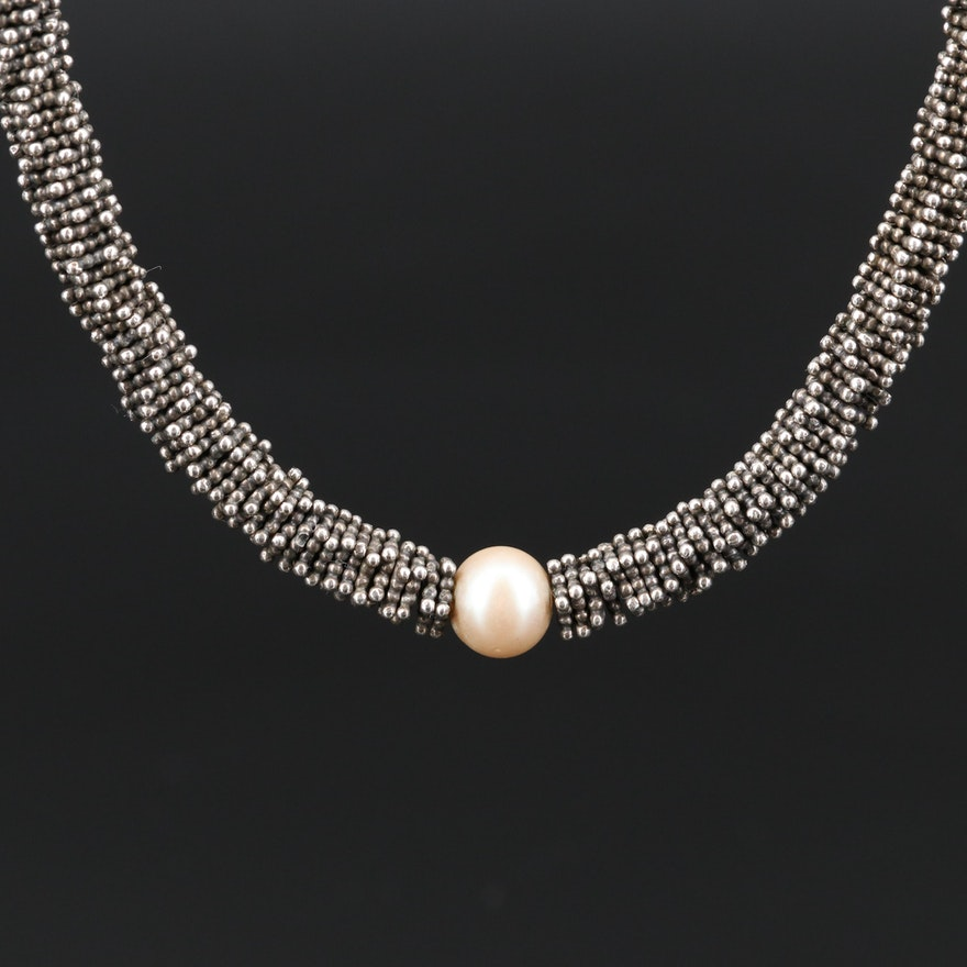 Sterling Silver Beaded Necklace with Pearl Accents