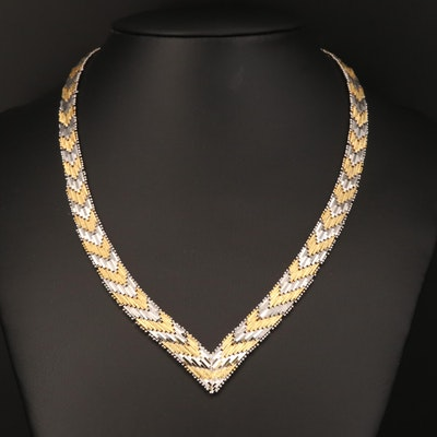 Sterling Riccio Link Chevron Necklace