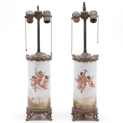 Hand-Painted Scenic Cherubs on Porcelain Table Lamps, Early 20th Century