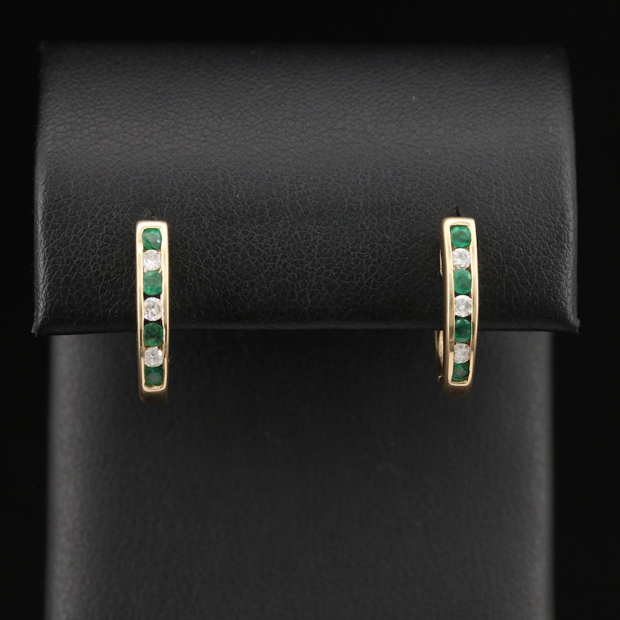 14K Emerald and Diamond J-Hoop Earrings