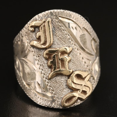 Vintage Sterling Silver Monogrammed Ring with 14K Accents