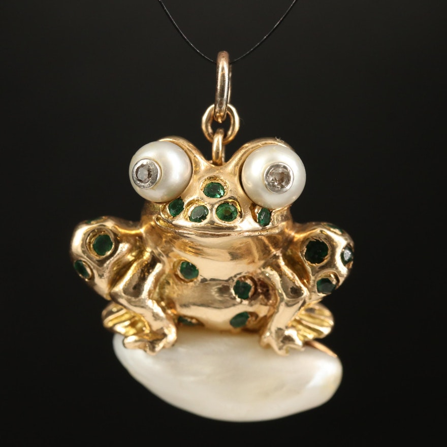 14K  Pearl and Diamond Frog Pendant with Platinum Accents