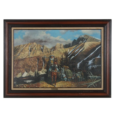 """Billy Wilder Oil Painting """"Prospector,"""" Late 20th Century"""