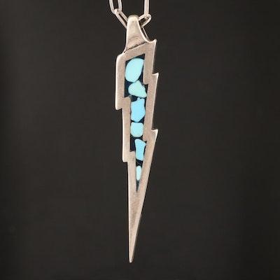 Western Style Turquoise Lightning Bolt Pendant Necklace