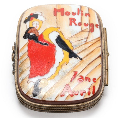 "Hand-Painted Limoges Porcelain ""Moulin Rouge Jane Avril"" Decorative Box"