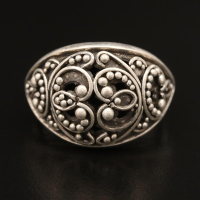 Lois Hill Sterling Silver Ring with Granulation Pattern