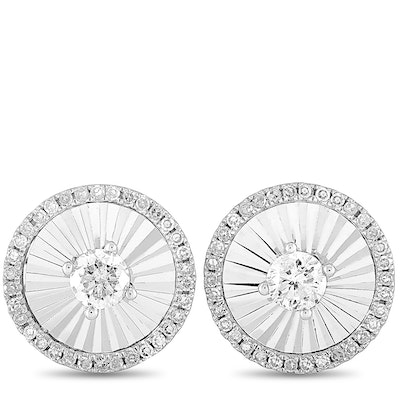 14K White Gold Diamond Round Push Back Earrings