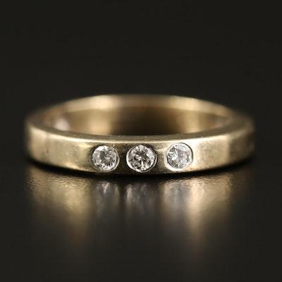 14K Diamond Three Stone Band