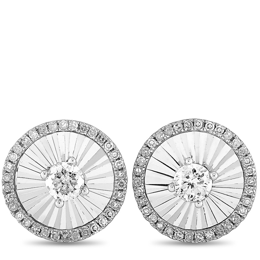 14K White Gold Diamond Round Push Back Earrings