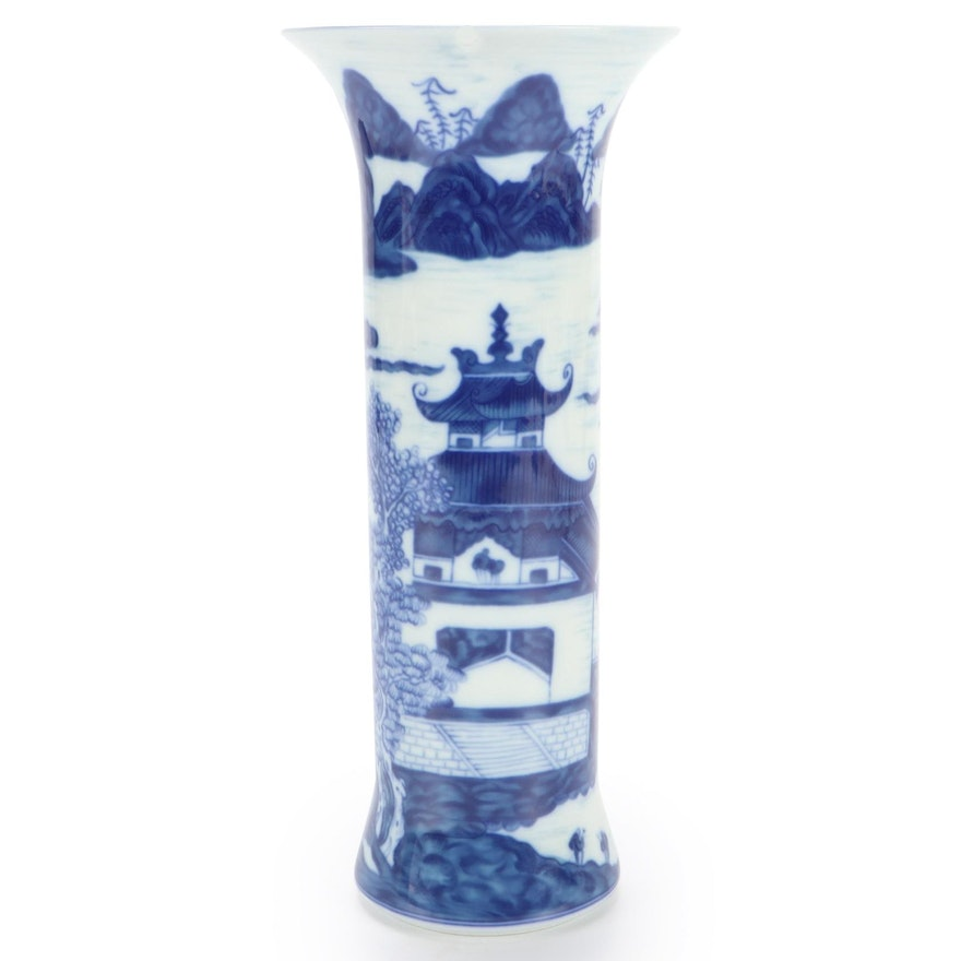 "Mottahedeh ""Blue Canton"" Porcelain Trumpet Vase"