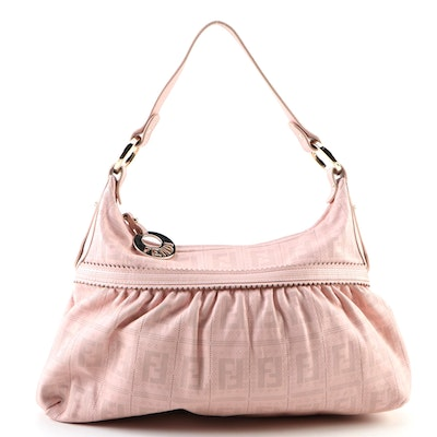Fendi Large Chef Shoulder Bag in Zucca Perforated Blush Pink Leather