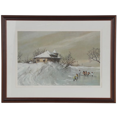 "Robert Fabe Offset Lithograph ""Winter Morning"""