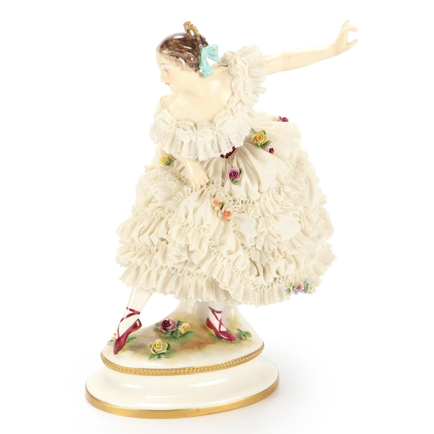 "Volkstedt ""Dresden Lace"" Hand-Painted Porcelain Ballerina Figurine, 19th Century"