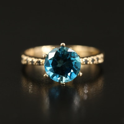 14K London Blue Topaz and Diamond Tapered Ring