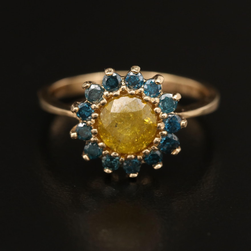 14K 1.36 CTW Yellow and Blue Diamond Ring