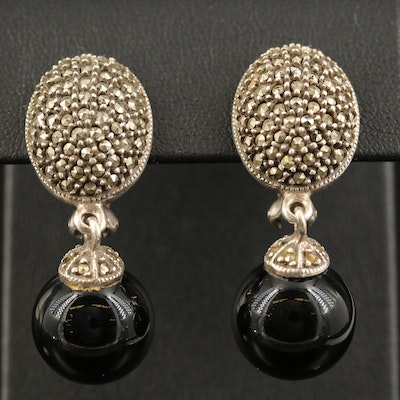 Judith Jack Sterling Black Onyx and Pavé Marcasite Drop Earrings