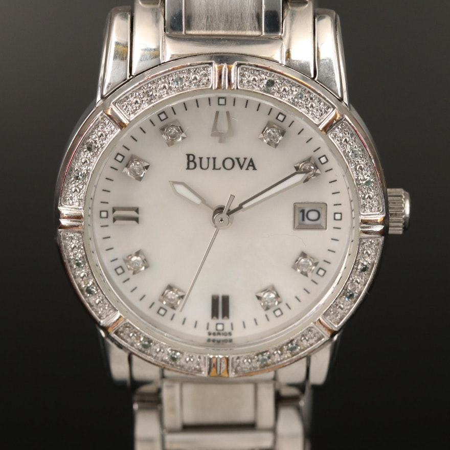 Diamond Bulova Stainless Steel Quartz Wristwatch