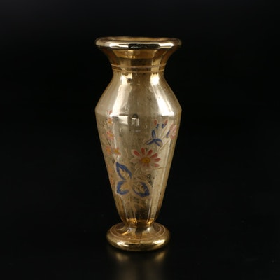 English Victorian Hand-Painted Gold Mercury Glass Vase, Mid to Late 19th Century