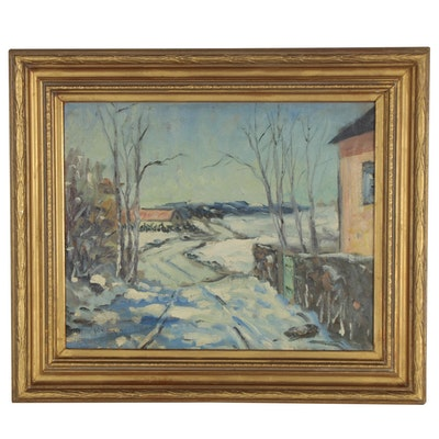 Walter Emerson Baum Oil Painting of Snowy Winter Scene, Mid-20th Century