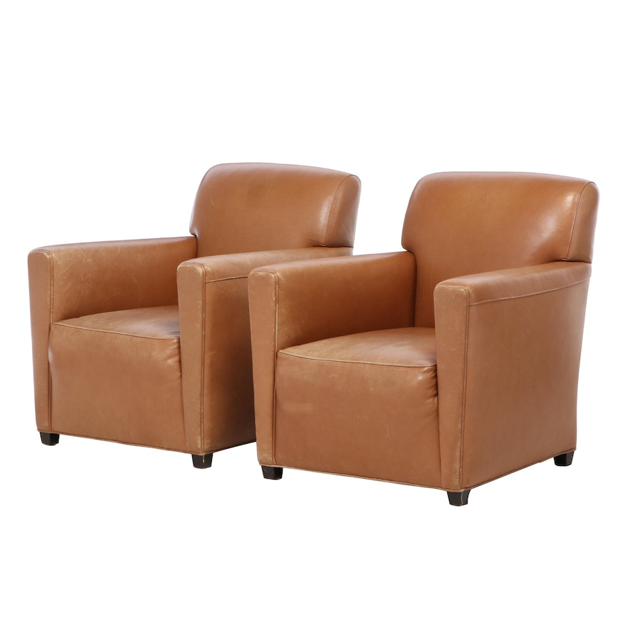 Coach for Baker Furniture Art Deco Style Leather Club Chairs, Late 20th Century