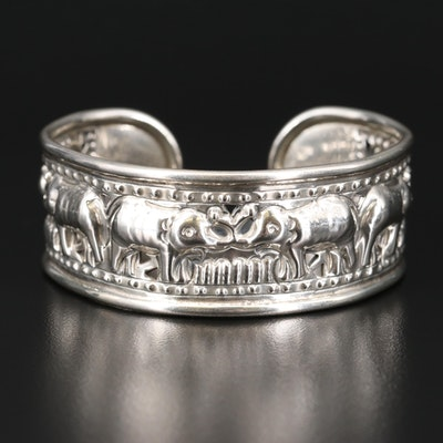 Sterling Silver Elephant Pattern Repousse Cuff