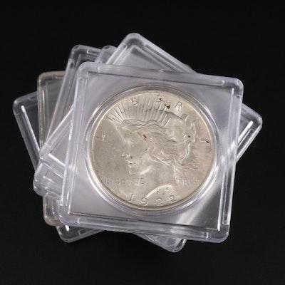 Six 1922 Peace Silver Dollars