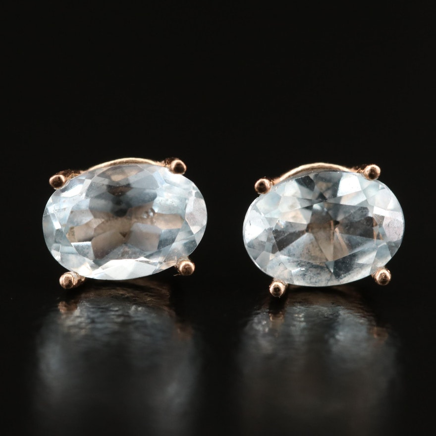 14K Aquamarine and Topaz Stud Earrings