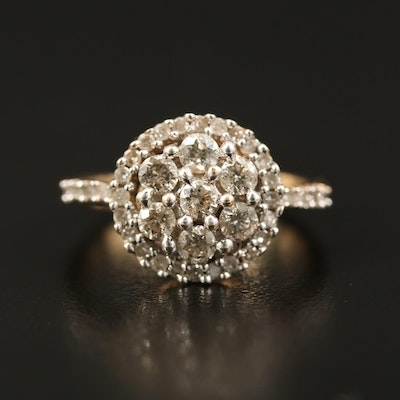 14K Diamond Halo Cluster Ring