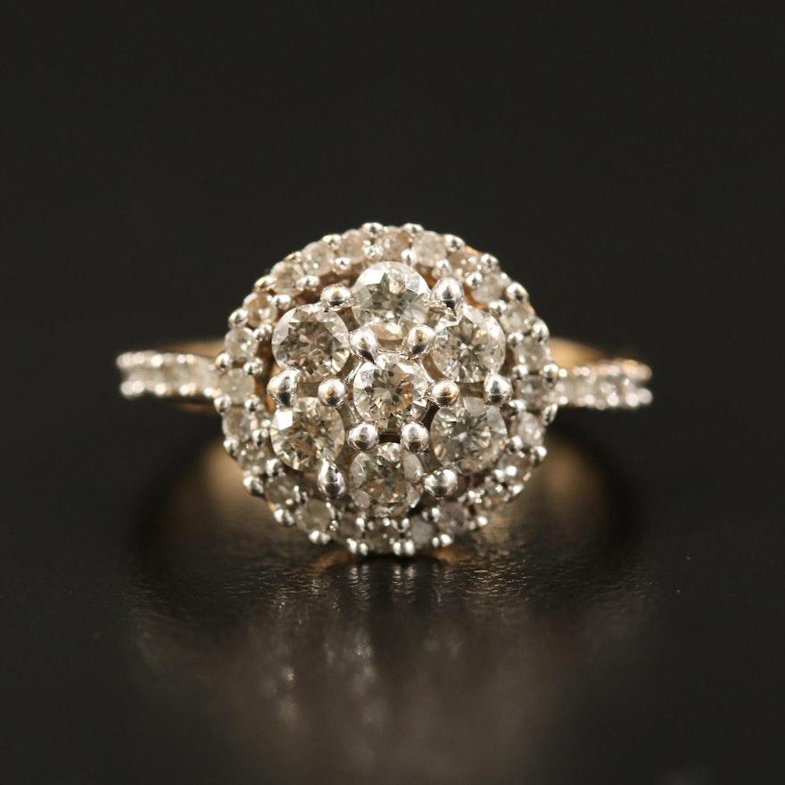 14K Diamond Halo Cluster Ring